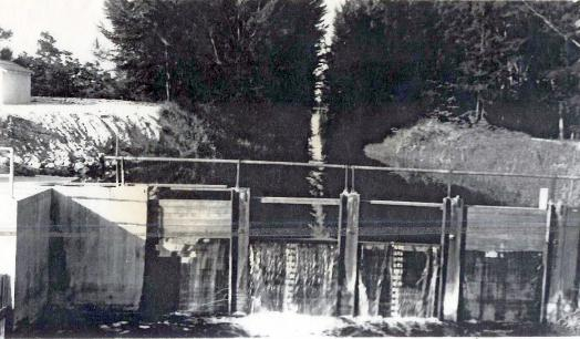 Black and white photo of a dam